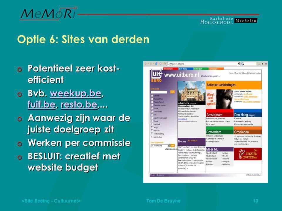 Tom De Bruyne 13 Optie 6: Sites van derden  Potentieel zeer kost- efficient  Bvb.