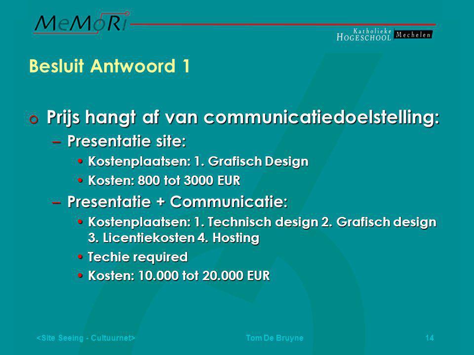 Tom De Bruyne 14 Besluit Antwoord 1  Prijs hangt af van communicatiedoelstelling: – Presentatie site: • Kostenplaatsen: 1.