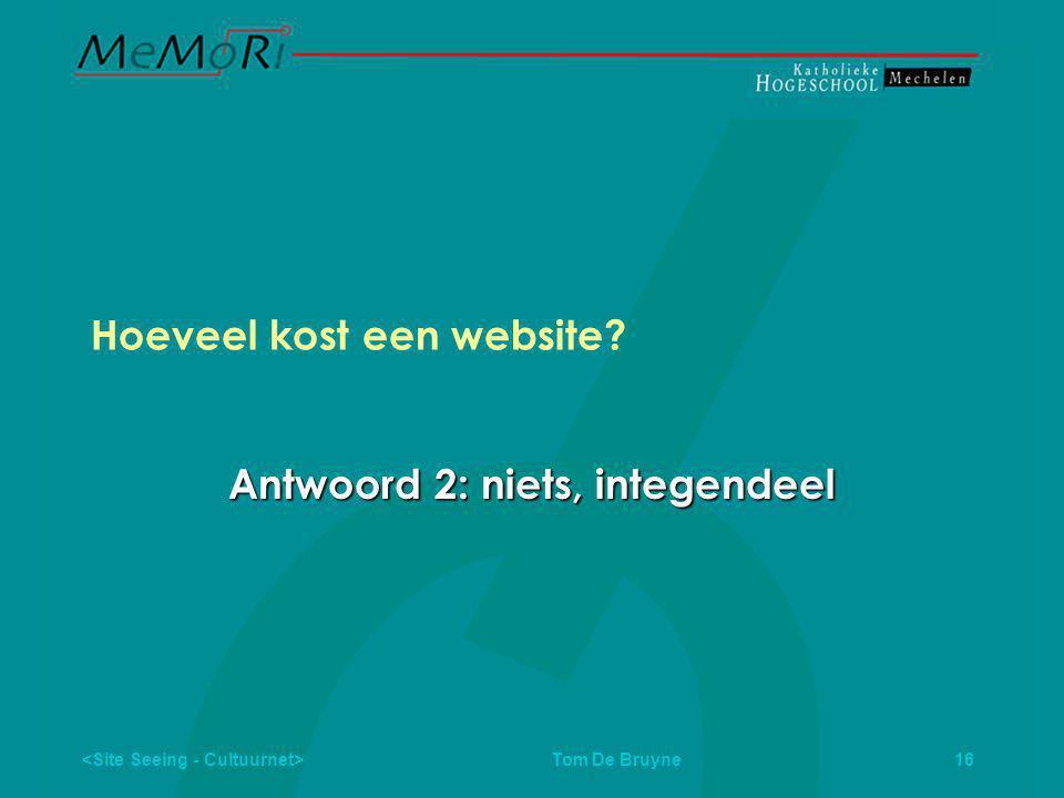Tom De Bruyne 16 Hoeveel kost een website Antwoord 2: niets, integendeel