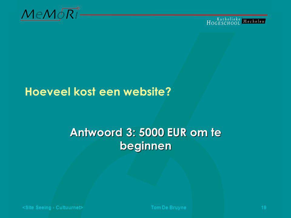 Tom De Bruyne 19 Hoeveel kost een website Antwoord 3: 5000 EUR om te beginnen