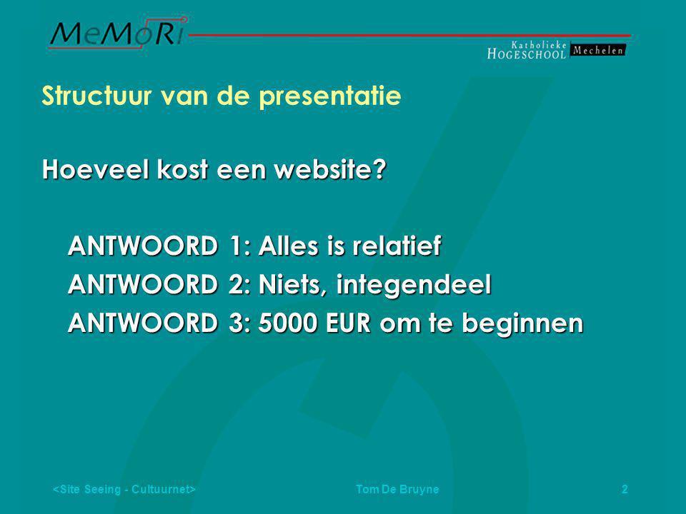 2 Structuur van de presentatie Hoeveel kost een website.