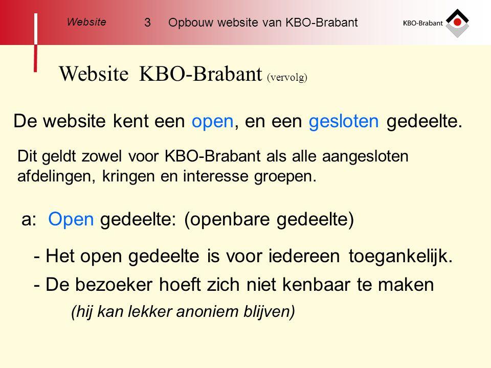 Website KBO-Brabant (vervolg) De website kent een open, en een gesloten gedeelte.