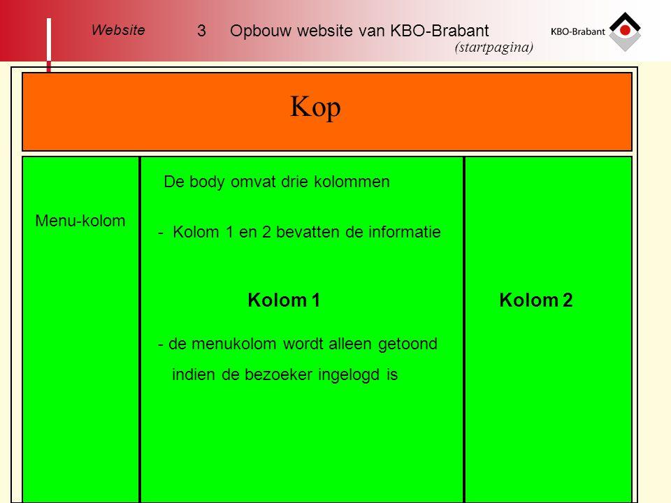 Kop Kolom 1Kolom 2 Menu-kolom De body omvat drie kolommen - Kolom 1 en 2 bevatten de informatie - de menukolom wordt alleen getoond indien de bezoeker ingelogd is Website 3 Opbouw website van KBO-Brabant (startpagina)