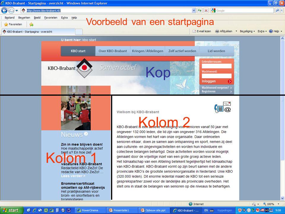 Kolom 1 Kolom 2 Voorbeeld van een startpagina Kop