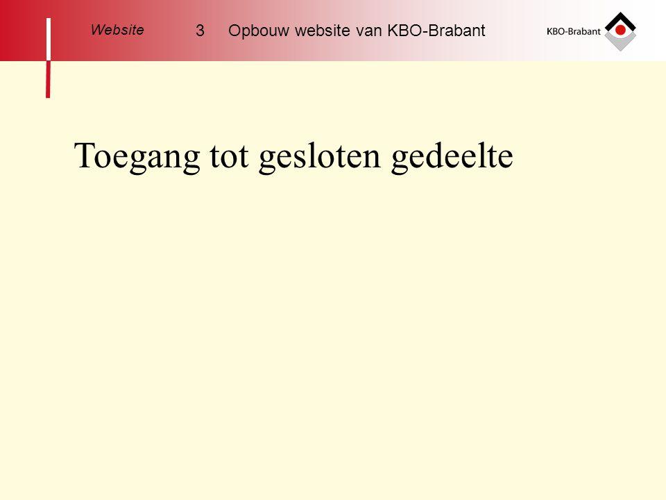 Toegang tot gesloten gedeelte Website 3 Opbouw website van KBO-Brabant