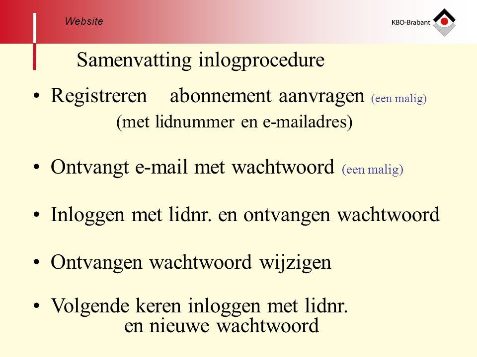 Samenvatting inlogprocedure • Registreren abonnement aanvragen (een malig) (met lidnummer en e-mailadres) • Ontvangt e-mail met wachtwoord (een malig) • Inloggen met lidnr.