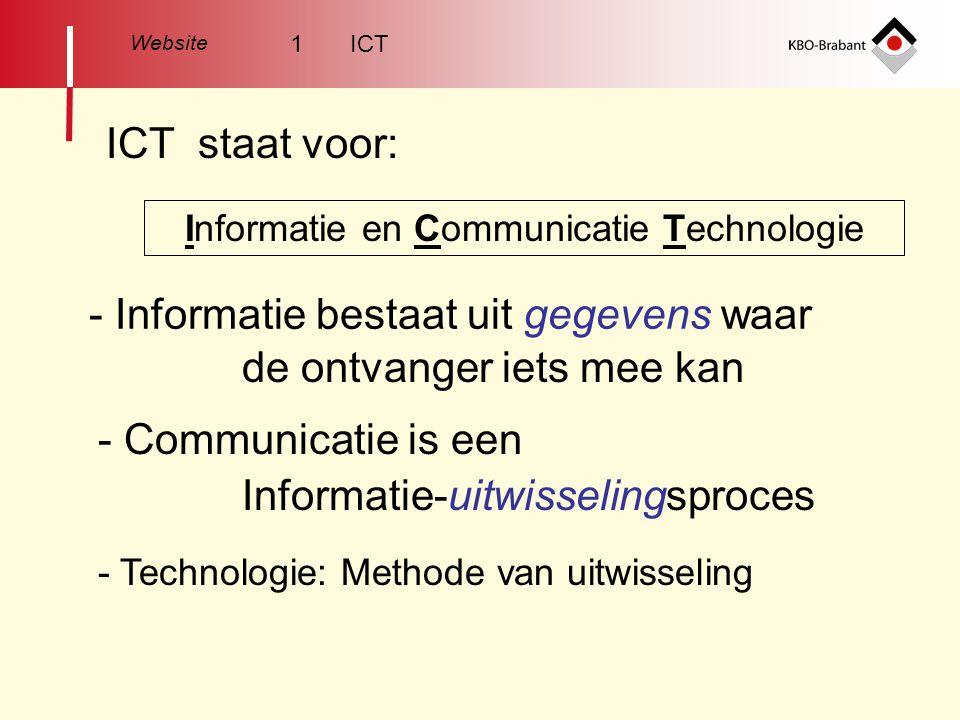 Website ICT staat voor: Informatie en Communicatie Technologie - Informatie bestaat uit gegevens waar de ontvanger iets mee kan - Communicatie is een Informatie-uitwisselingsproces - Technologie: Methode van uitwisseling 1 ICT