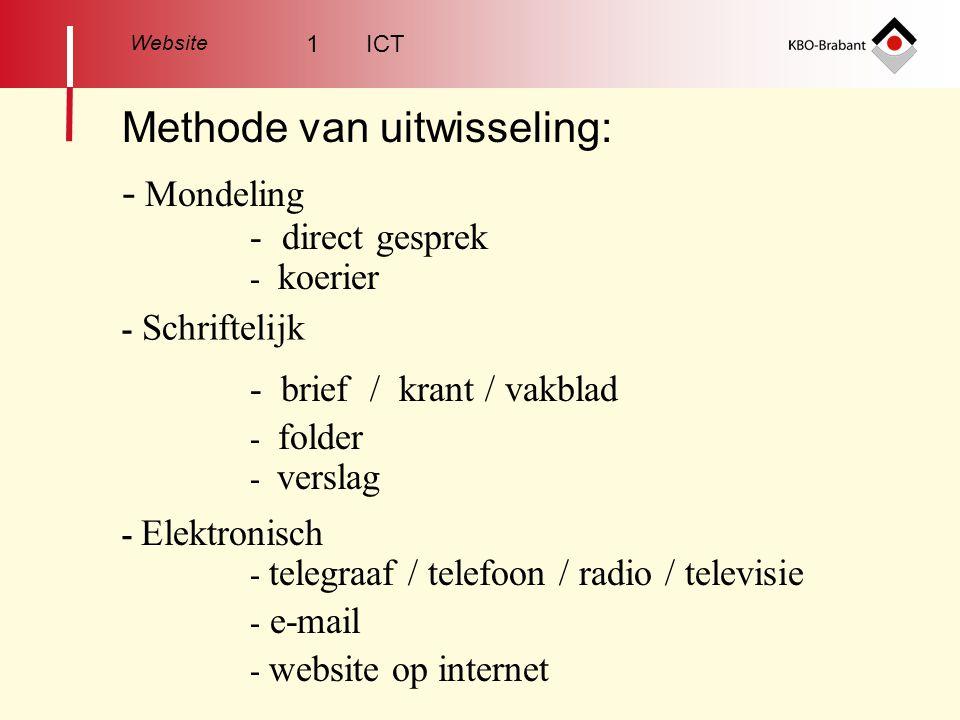 Website Methode van uitwisseling: - Mondeling - direct gesprek - koerier - Schriftelijk - brief / krant / vakblad - folder - verslag - Elektronisch - telegraaf / telefoon / radio / televisie - e-mail - website op internet 1 ICT