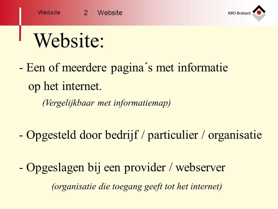 Website Website: - Opgeslagen bij een provider / webserver - Opgesteld door bedrijf / particulier / organisatie (organisatie die toegang geeft tot het internet) op het internet.