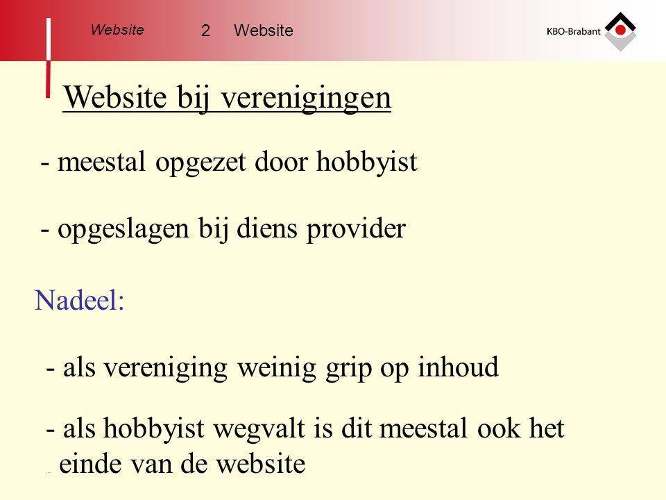 Website Website KBO-Brabant - helemaal vernieuwd (2008) - elke kring en afdeling kan aansluiten - geen kosten (voor afdeling / kring voorlopig?) - als webmaster wegvalt makkelijk door een ander over te nemen 2 Website - eigen webmaster (opgeleid door KBO-Brabant)