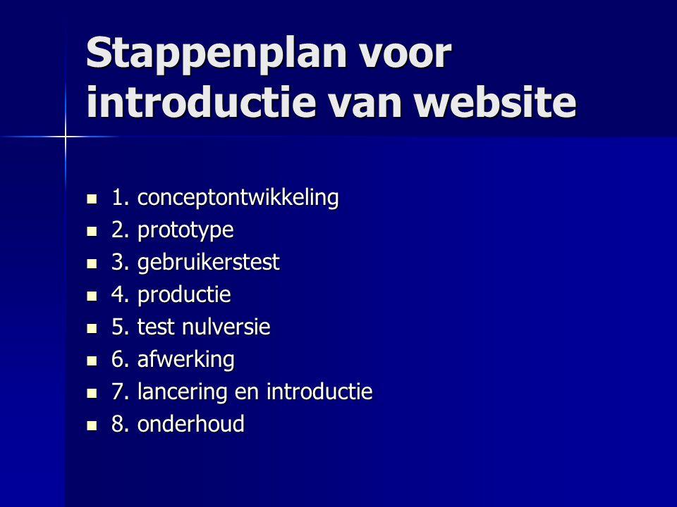 Stappenplan voor introductie van website  1. conceptontwikkeling  2. prototype  3. gebruikerstest  4. productie  5. test nulversie  6. afwerking