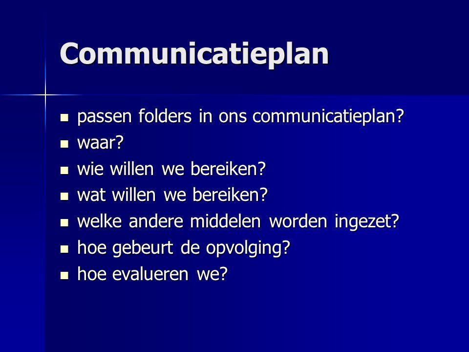 Communicatieplan  passen folders in ons communicatieplan?  waar?  wie willen we bereiken?  wat willen we bereiken?  welke andere middelen worden