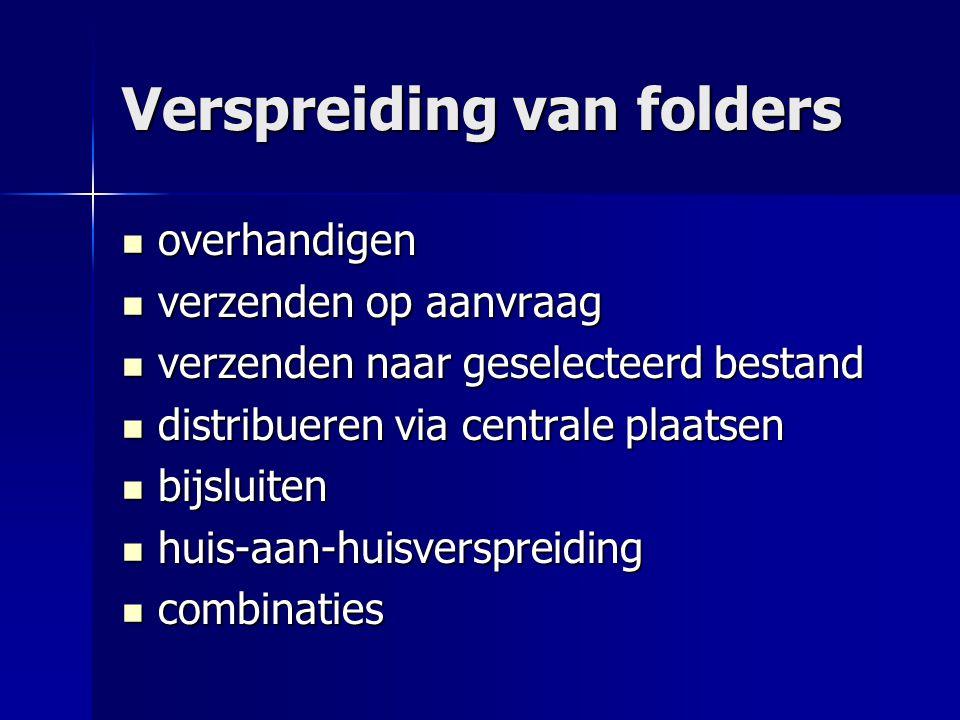 Verspreiding van folders  overhandigen  verzenden op aanvraag  verzenden naar geselecteerd bestand  distribueren via centrale plaatsen  bijsluite