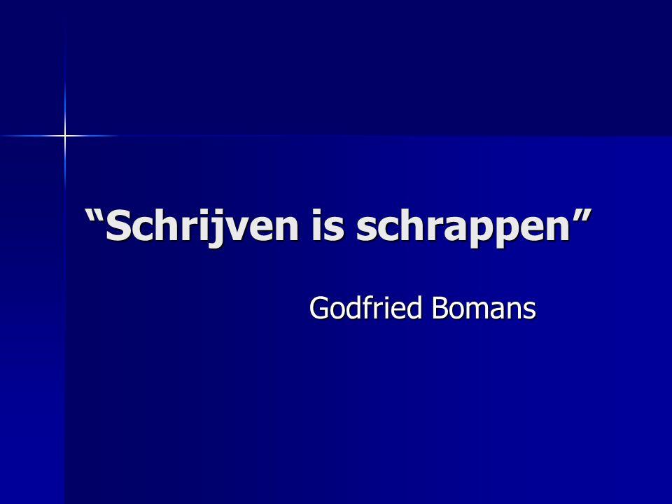 """""""Schrijven is schrappen"""" Godfried Bomans Godfried Bomans"""