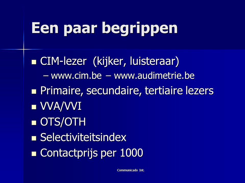 Communicado Int. Een paar begrippen  CIM-lezer (kijker, luisteraar) –www.cim.be – www.audimetrie.be  Primaire, secundaire, tertiaire lezers  VVA/VV