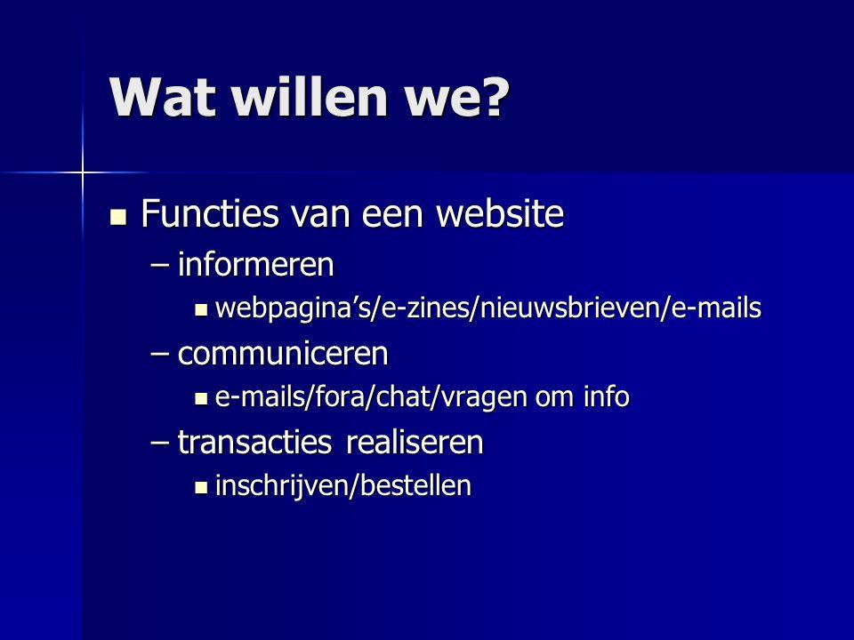 Wat willen we?  Functies van een website –informeren  webpagina's/e-zines/nieuwsbrieven/e-mails –communiceren  e-mails/fora/chat/vragen om info –tr