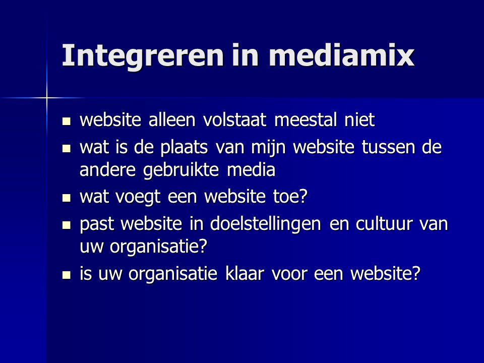 Integreren in mediamix  website alleen volstaat meestal niet  wat is de plaats van mijn website tussen de andere gebruikte media  wat voegt een web
