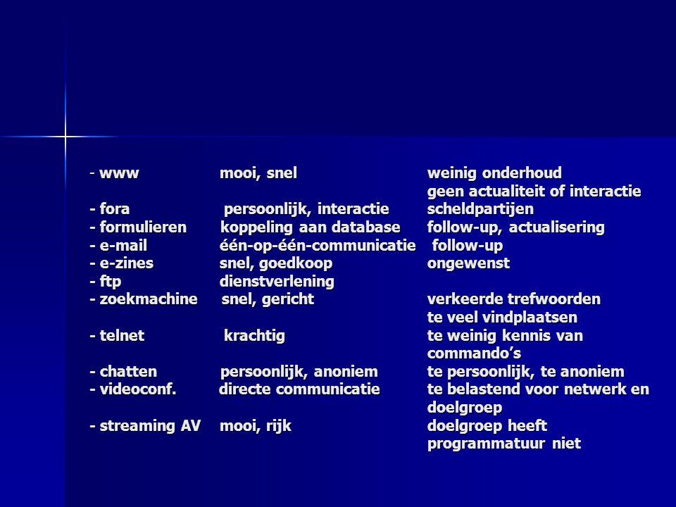 - www mooi, snel weinig onderhoud geen actualiteit of interactie - fora persoonlijk, interactiescheldpartijen - formulieren koppeling aan database fol
