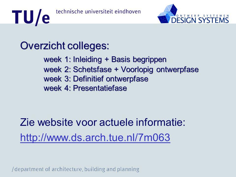 Overzicht colleges: week 1: Inleiding + Basis begrippen week 2: Schetsfase + Voorlopig ontwerpfase week 3: Definitief ontwerpfase week 4: Presentatief