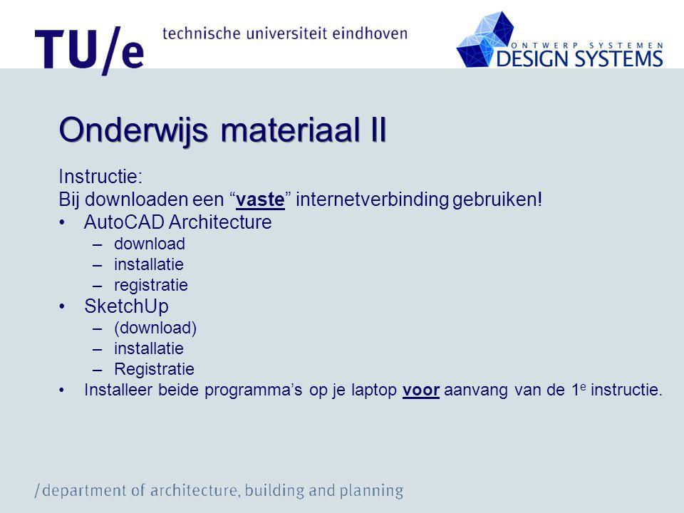 """Onderwijs materiaal II Instructie: Bij downloaden een """"vaste"""" internetverbinding gebruiken! •AutoCAD Architecture –download –installatie –registratie"""