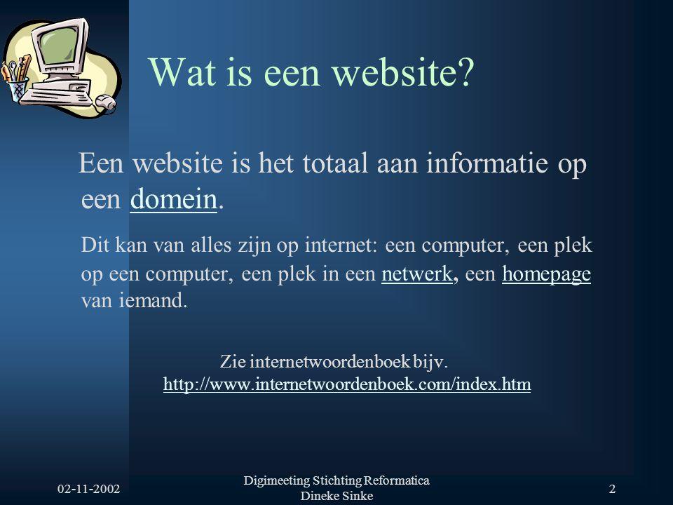 02-11-2002 Digimeeting Stichting Reformatica Dineke Sinke 3 Cijfers Aantal geregistreerde domeinnamen over de afgelopen jaren Bron: St.