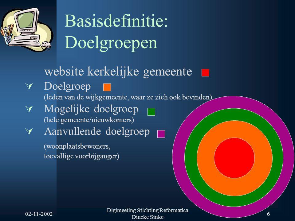 02-11-2002 Digimeeting Stichting Reformatica Dineke Sinke 6 Basisdefinitie: Doelgroepen website kerkelijke gemeente  Doelgroep (leden van de wijkgeme