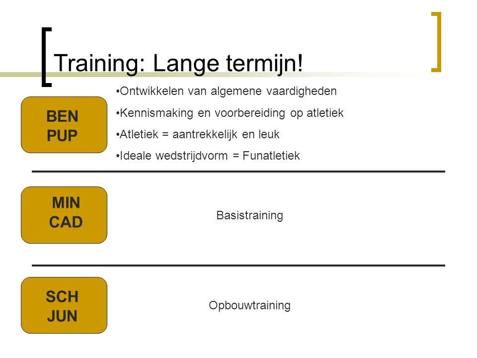 Training: Lange termijn! Basistraining Opbouwtraining BEN PUP MIN CAD SCH JUN •Ontwikkelen van algemene vaardigheden •Kennismaking en voorbereiding op
