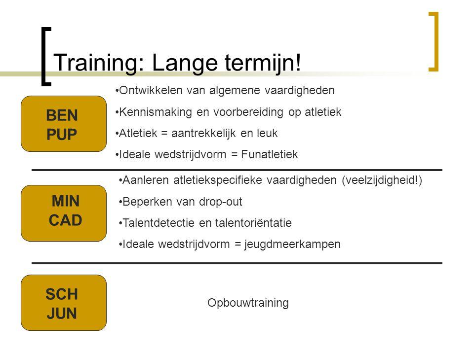 Training: Lange termijn! Opbouwtraining BEN PUP MIN CAD SCH JUN •Ontwikkelen van algemene vaardigheden •Kennismaking en voorbereiding op atletiek •Atl