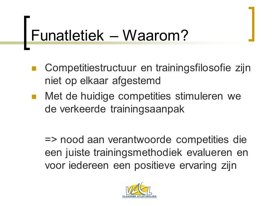 Funatletiek – Waarom?  Competitiestructuur en trainingsfilosofie zijn niet op elkaar afgestemd  Met de huidige competities stimuleren we de verkeerd