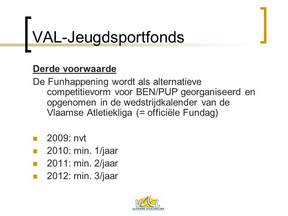 VAL-Jeugdsportfonds Derde voorwaarde De Funhappening wordt als alternatieve competitievorm voor BEN/PUP georganiseerd en opgenomen in de wedstrijdkale