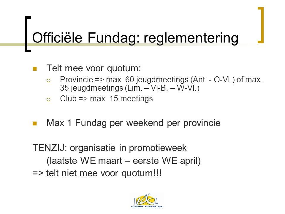 Officiële Fundag: reglementering  Telt mee voor quotum:  Provincie => max. 60 jeugdmeetings (Ant. - O-Vl.) of max. 35 jeugdmeetings (Lim. – Vl-B. –