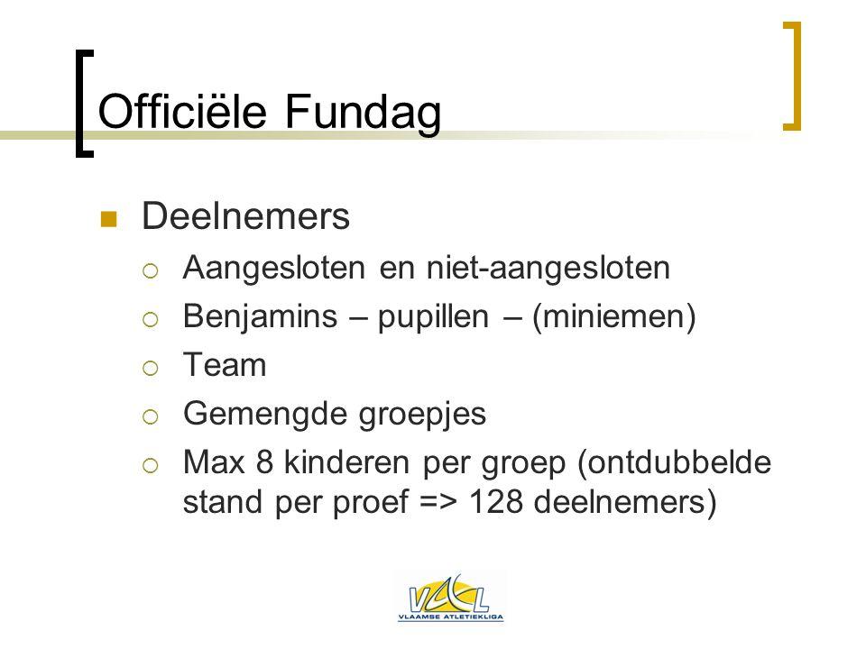 Officiële Fundag  Deelnemers  Aangesloten en niet-aangesloten  Benjamins – pupillen – (miniemen)  Team  Gemengde groepjes  Max 8 kinderen per gr