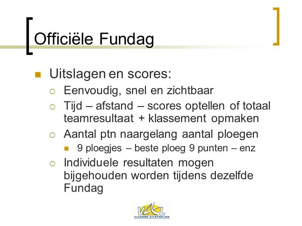 Officiële Fundag  Uitslagen en scores:  Eenvoudig, snel en zichtbaar  Tijd – afstand – scores optellen of totaal teamresultaat + klassement opmaken