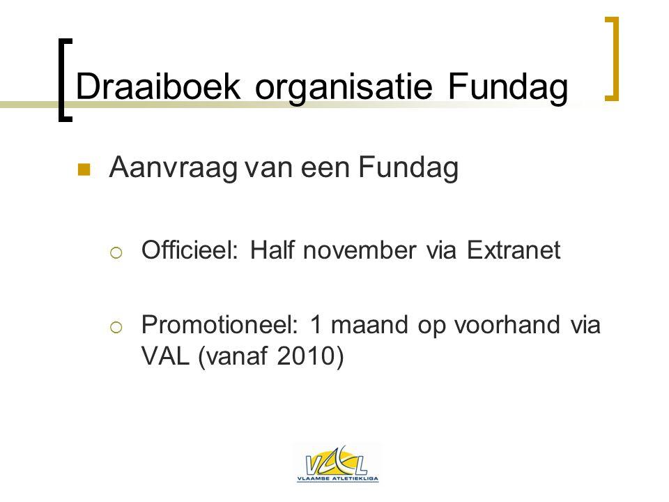 Draaiboek organisatie Fundag  Aanvraag van een Fundag  Officieel: Half november via Extranet  Promotioneel: 1 maand op voorhand via VAL (vanaf 2010