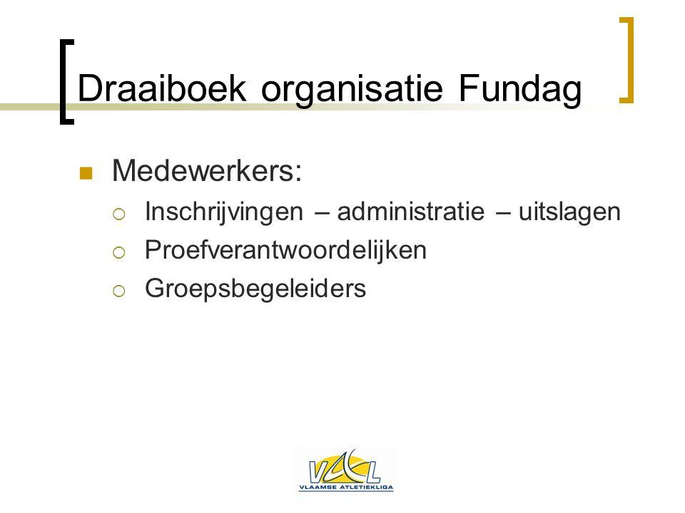 Draaiboek organisatie Fundag  Medewerkers:  Inschrijvingen – administratie – uitslagen  Proefverantwoordelijken  Groepsbegeleiders