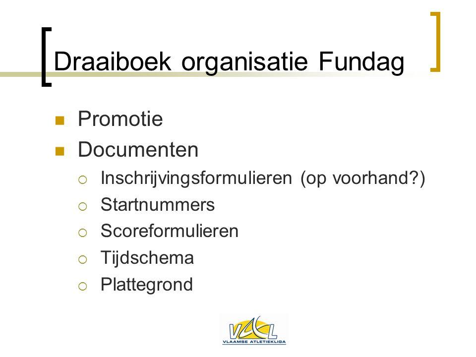 Draaiboek organisatie Fundag  Promotie  Documenten  Inschrijvingsformulieren (op voorhand?)  Startnummers  Scoreformulieren  Tijdschema  Platte