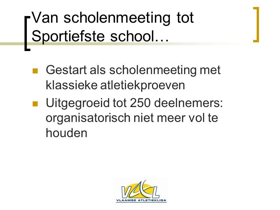 Van scholenmeeting tot Sportiefste school…  Gestart als scholenmeeting met klassieke atletiekproeven  Uitgegroeid tot 250 deelnemers: organisatorisc