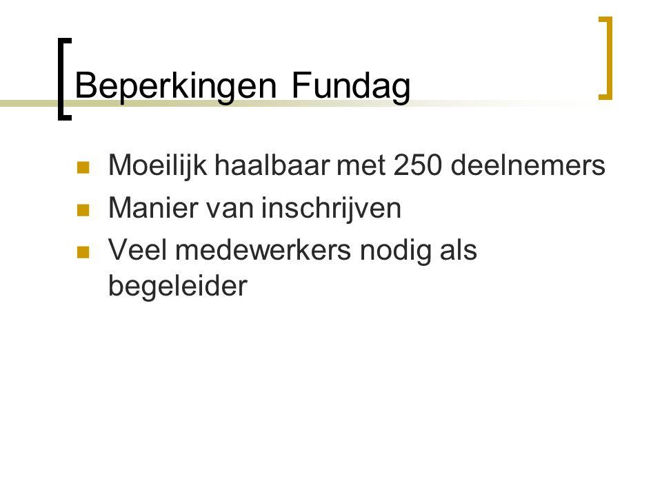 Beperkingen Fundag  Moeilijk haalbaar met 250 deelnemers  Manier van inschrijven  Veel medewerkers nodig als begeleider