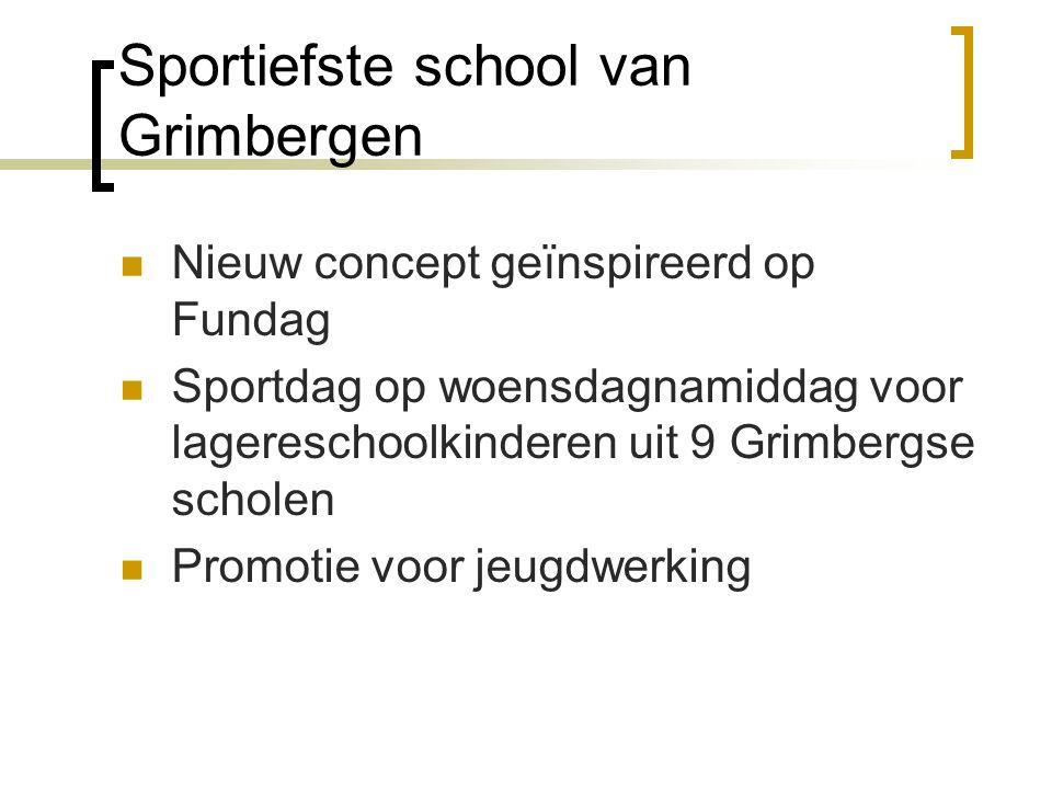 Sportiefste school van Grimbergen  Nieuw concept geïnspireerd op Fundag  Sportdag op woensdagnamiddag voor lagereschoolkinderen uit 9 Grimbergse sch