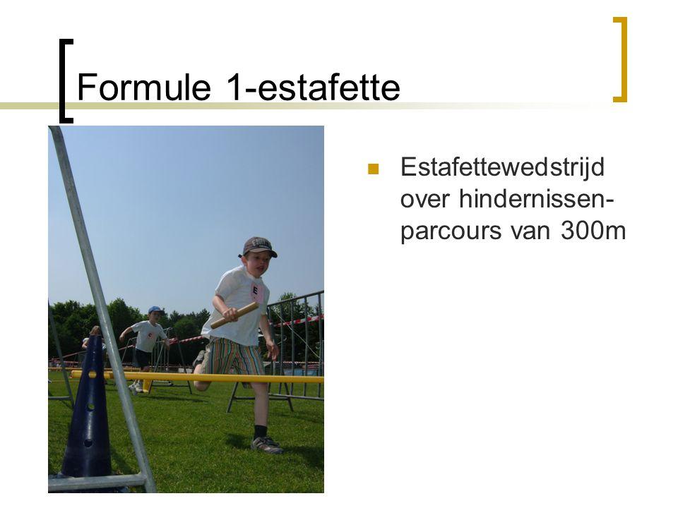 Formule 1-estafette  Estafettewedstrijd over hindernissen- parcours van 300m