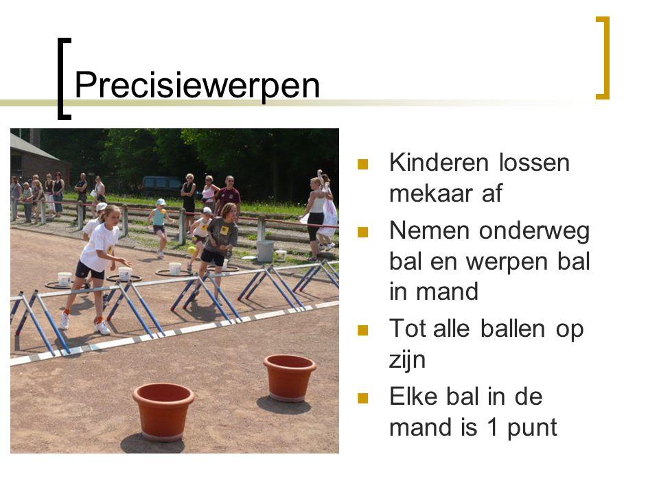Precisiewerpen  Kinderen lossen mekaar af  Nemen onderweg bal en werpen bal in mand  Tot alle ballen op zijn  Elke bal in de mand is 1 punt