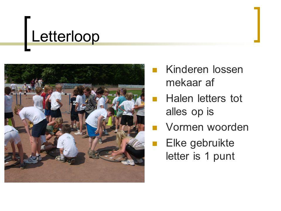 Letterloop  Kinderen lossen mekaar af  Halen letters tot alles op is  Vormen woorden  Elke gebruikte letter is 1 punt
