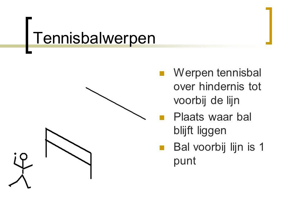 Tennisbalwerpen  Werpen tennisbal over hindernis tot voorbij de lijn  Plaats waar bal blijft liggen  Bal voorbij lijn is 1 punt