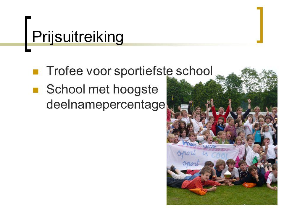 Prijsuitreiking  Trofee voor sportiefste school  School met hoogste deelnamepercentage