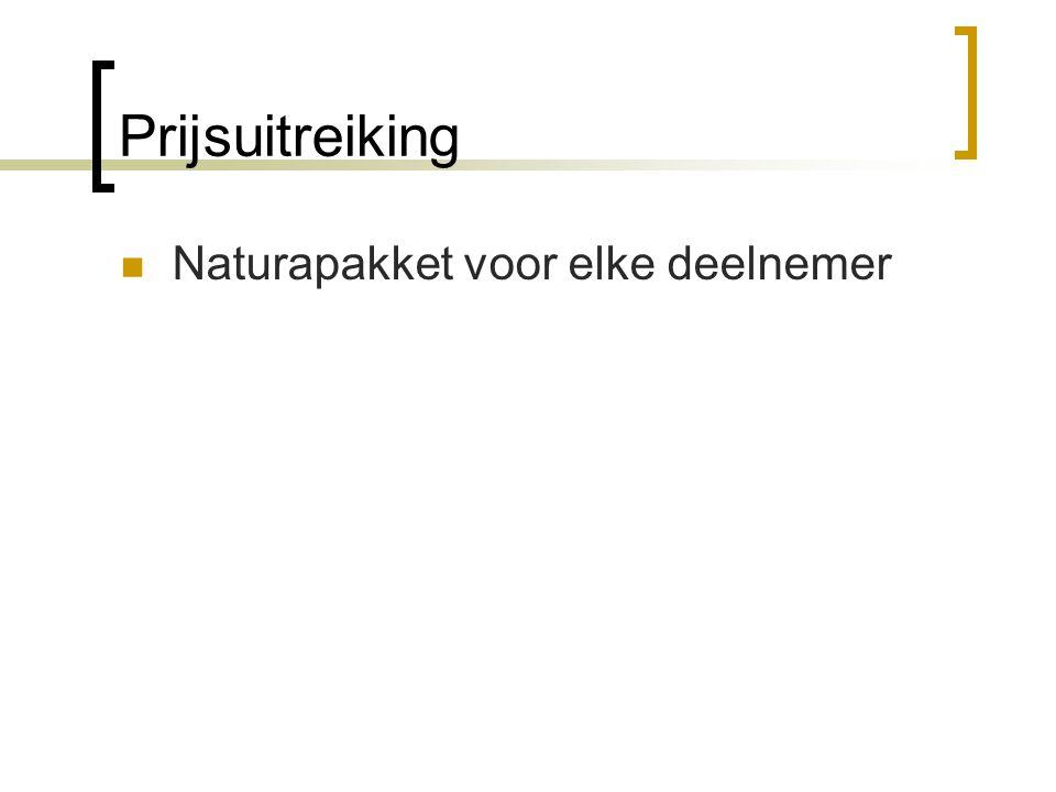 Prijsuitreiking  Naturapakket voor elke deelnemer