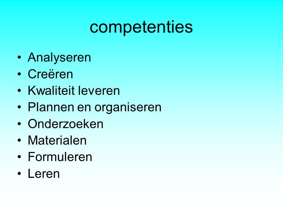 competenties •Analyseren •Creëren •Kwaliteit leveren •Plannen en organiseren •Onderzoeken •Materialen •Formuleren •Leren