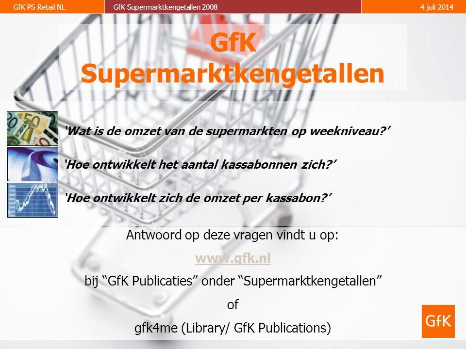 2 GfK PS Retail NLGfK Supermarktkengetallen 20084 juli 2014  In de maand september (weken 36-39) is de totale supermarktomzet met 4.6% gestegen van € 2,18 miljard (september 2007) naar € 2,28 miljard (september 2008).