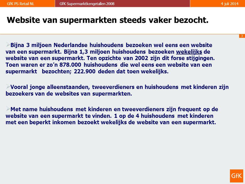 4 GfK PS Retail NLGfK Supermarktkengetallen 20084 juli 2014 Website van Albert Heijn wordt het beste beoordeeld.