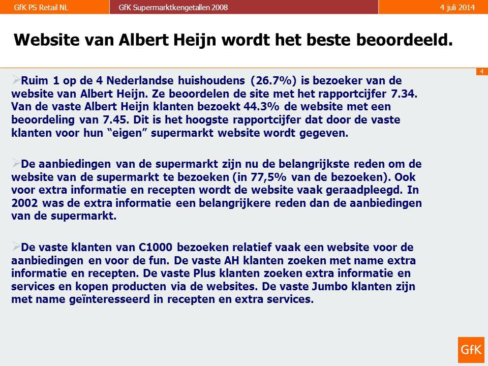 5 GfK PS Retail NLGfK Supermarktkengetallen 20084 juli 2014 Bezoek van supermarkt websites 40.4% (=2.936.700 huishoudens) van alle Nederlandse huishoudens bezoekt in 2008 wel eens een website van een supermarkt (in 2002: 12.6%).