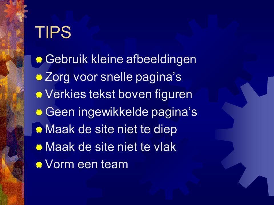 TIPS  Gebruik kleine afbeeldingen  Zorg voor snelle pagina's  Verkies tekst boven figuren  Geen ingewikkelde pagina's  Maak de site niet te diep  Maak de site niet te vlak  Vorm een team
